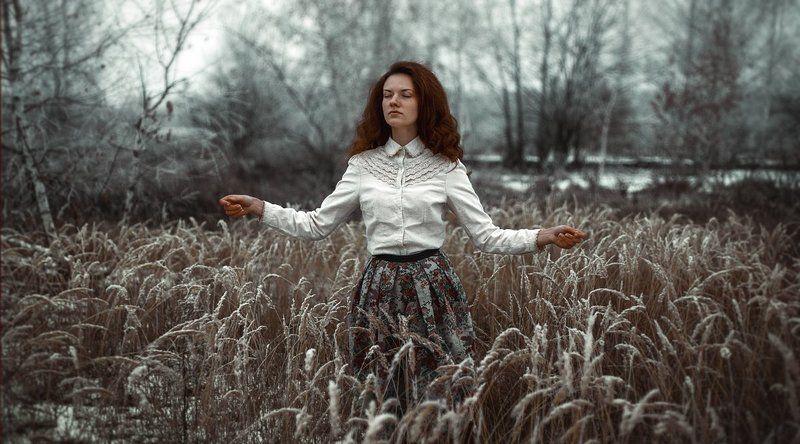 зима, поле, девушка, снежная, снег зимаphoto preview