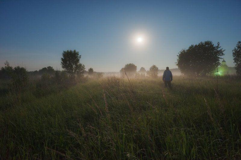 белые ночи, лето, луна, спасс косица, туман, подмосковье, серебристые облака Путешествие в ночном тумане...photo preview