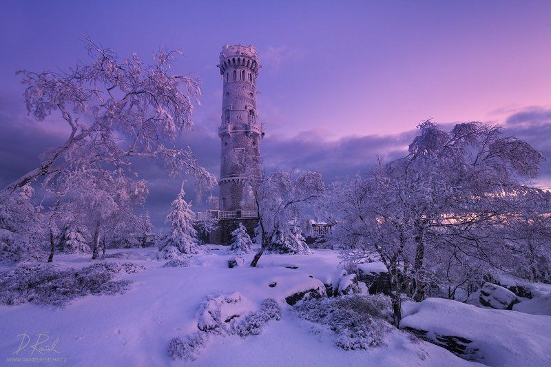 Czech Republic, Czech, Bohemia, Ore mountains, Děčínský Sněžník, Elbe Sandstone Mountains, Elbe Sandstone, Sandstone, Bohemian Switzerland, Europe, danielrericha, Tower, stone tower, morning light, frost, colors, sky, snow, landscape, Winter, Winter lands Winter tower before sunrisephoto preview