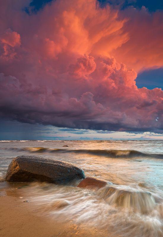 закат шторм море солнце облака латвия ***photo preview