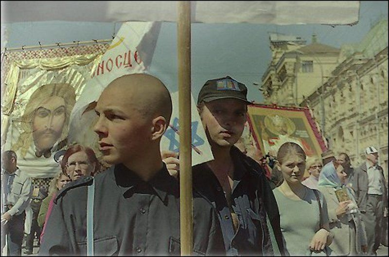 скины, хоругвеносцы, 9мая, демонстрация, митинг, репортаж, скинхеды Скины и хоругвеносцыphoto preview