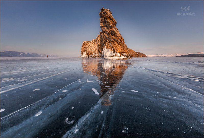 Россия, Байкал, зима, лёд, закат \
