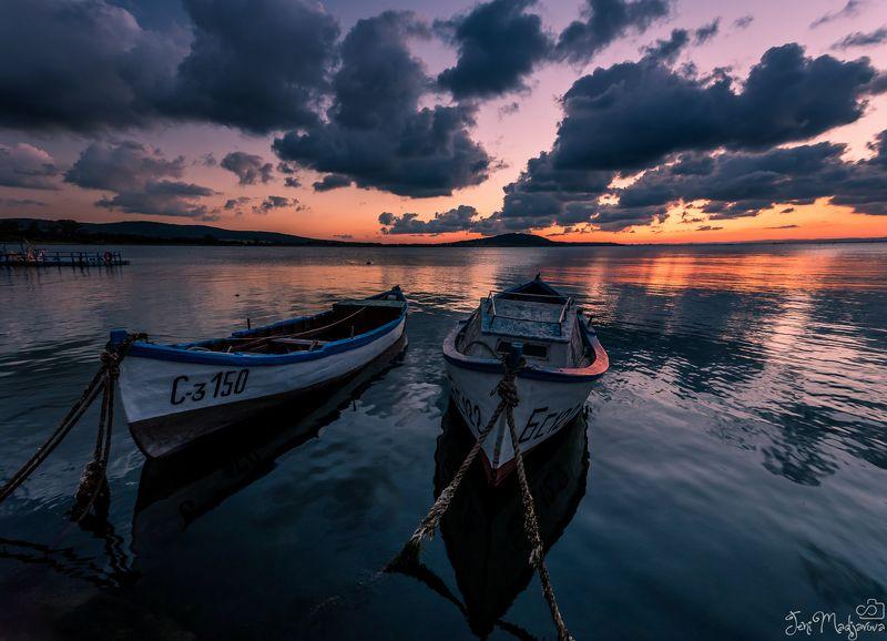 sunset, sea, clouds, boats, sky, landscape, seascape Boatsphoto preview