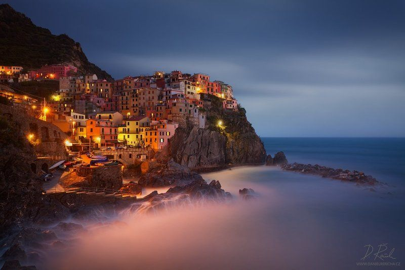 Italia, Italien, Italy, Europe, Liguria, Cinque Terre,  Manarola,  5 Lands, Cinque Terre National park, Unesco, Town, village, sea, cityscape, rocks, stones, blue hour, adriatic, sunset, architecture, spring, Water, daniel rericha, colored houses, coast,  Evening at Manarolaphoto preview
