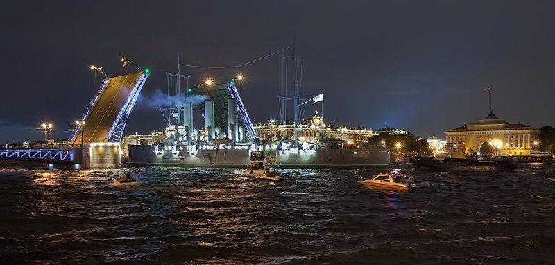 Белые ночи, Дворцовый мост, Зимний дворец, Крейсер Аврора, Санкт-Петербург, Эрмитаж Санкт-Петербург: возвращение крейсера \