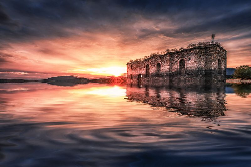 sunset, church, sky, clouds, dam, reflection, water, landscape The submerged churchphoto preview