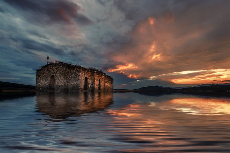 sunset, dam, water, landscape, church, clouds, sky, golden Sunsetphoto preview