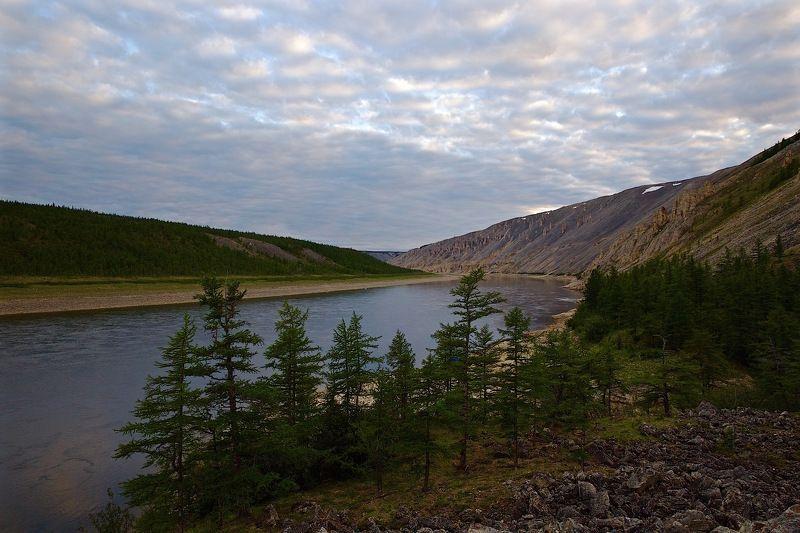 Дикая природа россии, Западная сибирь, Полярная ночь, Река Котуй Голубая тайгаphoto preview