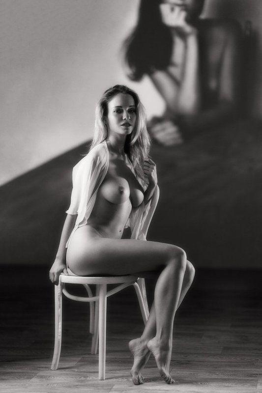 девушка, модель, студия, чб, ню, свет *photo preview