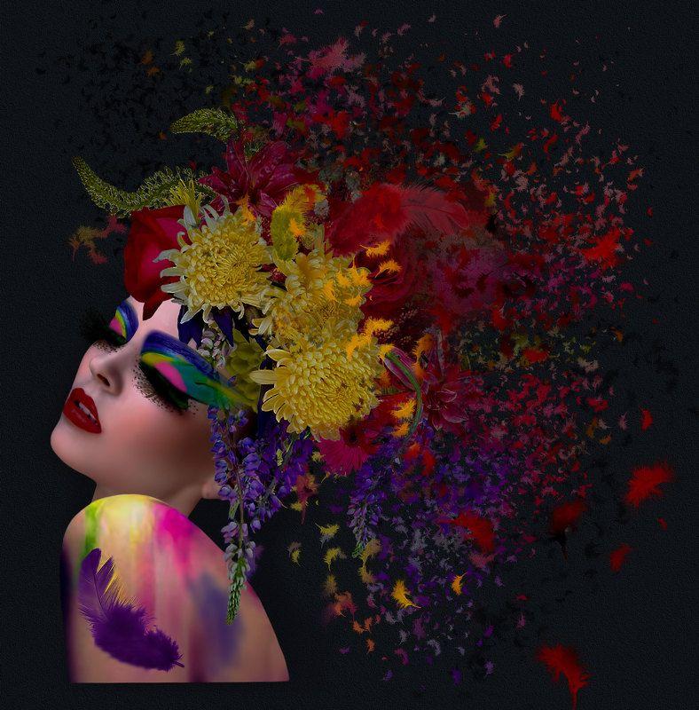 девушка, краски, перья DIGITALARTphoto preview