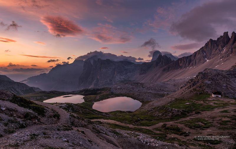 Dolomites, Italy, Tre Cime, Misurina, Alps, sunrise, mountain, lakes Tre Cime di Lavaredophoto preview