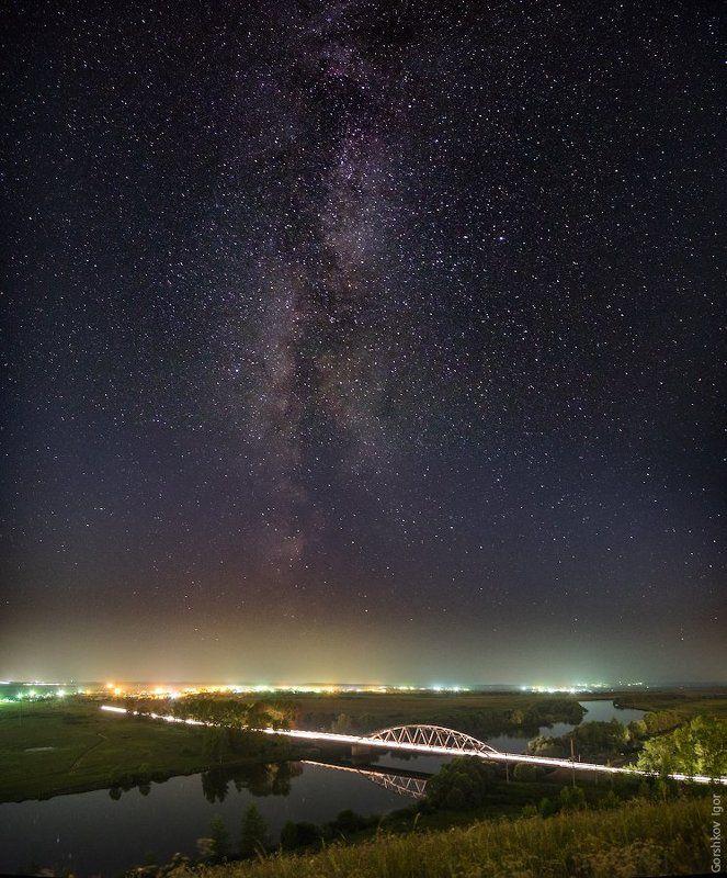 Дорога, Звёздное небо, Звёзды, Млечный путь, Мост, Ночное небо, Ночной пейзаж, Ночь, Панорама, Пейзаж, Река, Свет, Татарстан Мостыphoto preview