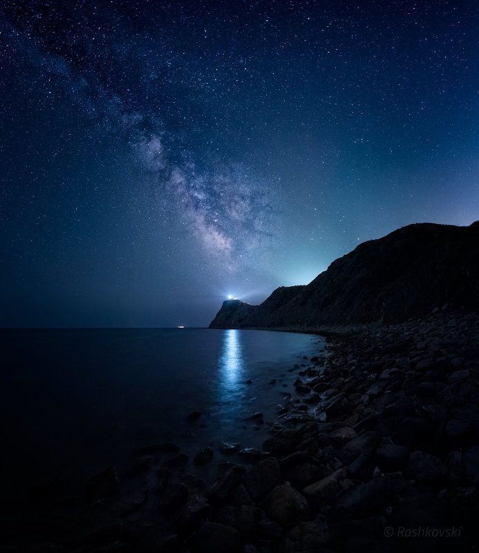 cape, sea, night, stars Cape Emine with the lighthousephoto preview