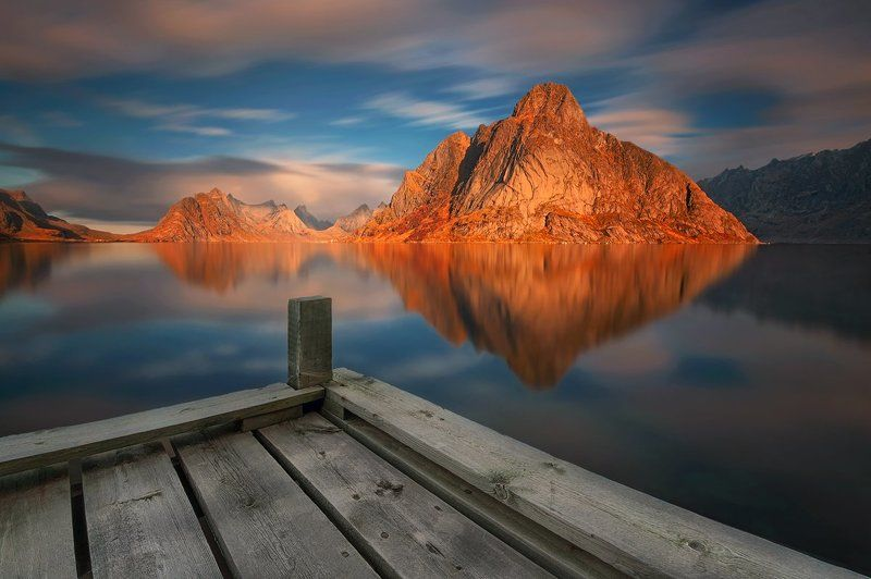 nikon, landscape, seascape, waterscape, lofoten, norway, olstinden, mountain, light, colors, digital, fine_art, long_exposure, nd, travel, adventure, reflections, sky, water,  His Majesty: Olstindenphoto preview