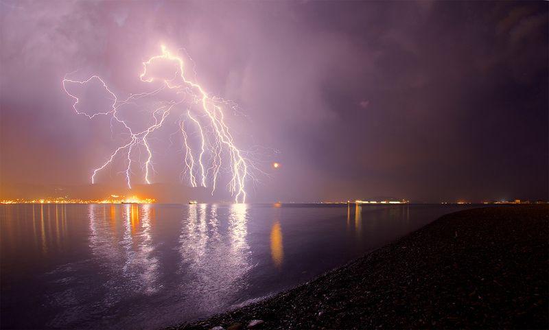 гроза юг молнии новороссийск краснодарский край Грозовая ночьphoto preview