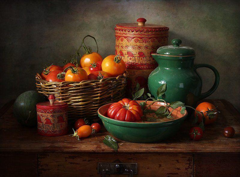 помидоры, кувшин, туесок, тыква, укроп Про помидорыphoto preview