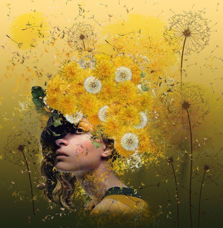 Девушка, Жёлтые цветы, Одуванчики Dandelionsphoto preview
