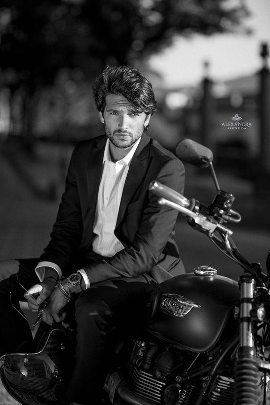 Black and white, Man, Motorbike, Photo Filippophoto preview