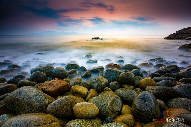 #quanphoto, #landscape,#seascape,#longexposure,#sea,#skyline,#rocks,#morning,#sunrise,#dawn,#vietnam The Sea at Dawnphoto preview