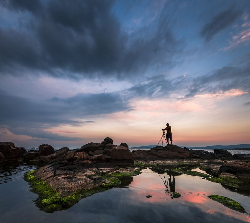 sunset, reflection, sea, seascape, photographer, rocks, landscape The photographer and the sunsetphoto preview