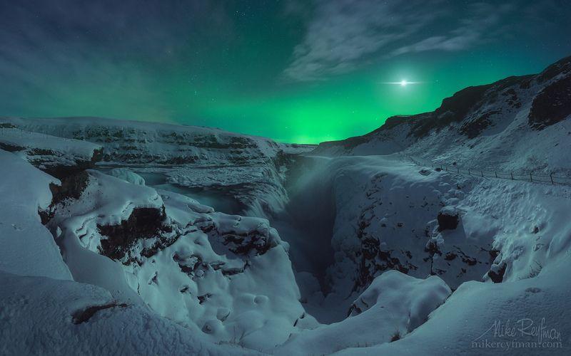 aurora borealis, gullfoss, iceland, night Ночной Гулфоссphoto preview