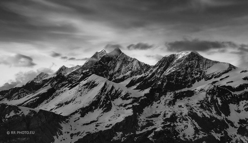 mountains, switzerland, sunrise, winter, black and white The giant\'s shadowphoto preview
