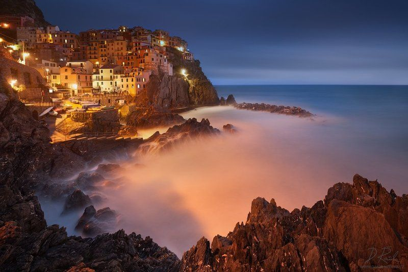 Italia, Italien, Italy, Europe, Liguria, Cinque Terre,  Manarola,  5 Lands, Cinque Terre National park, Unesco, Town, village, sea, cityscape, rocks, stones, blue hour, adriatic, sunset, architecture, spring, Water, daniel rericha, colored houses, coast,  Fairytale Manarolaphoto preview