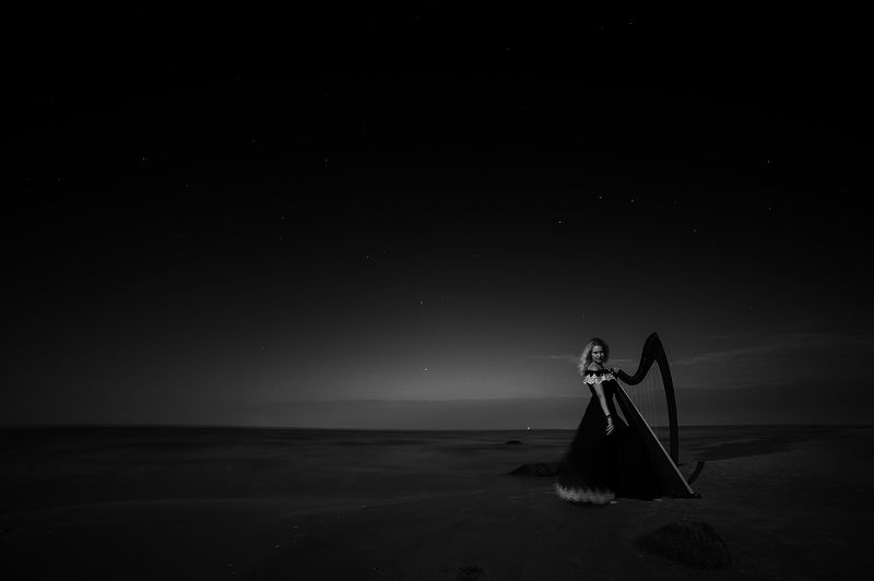Black and white, Landscape, Long exposure, Night, Portrait Night soundsphoto preview