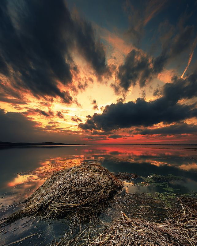 sunset, lake, clouds, light, contrast, reflection, water, waterscape Explosion of colorsphoto preview