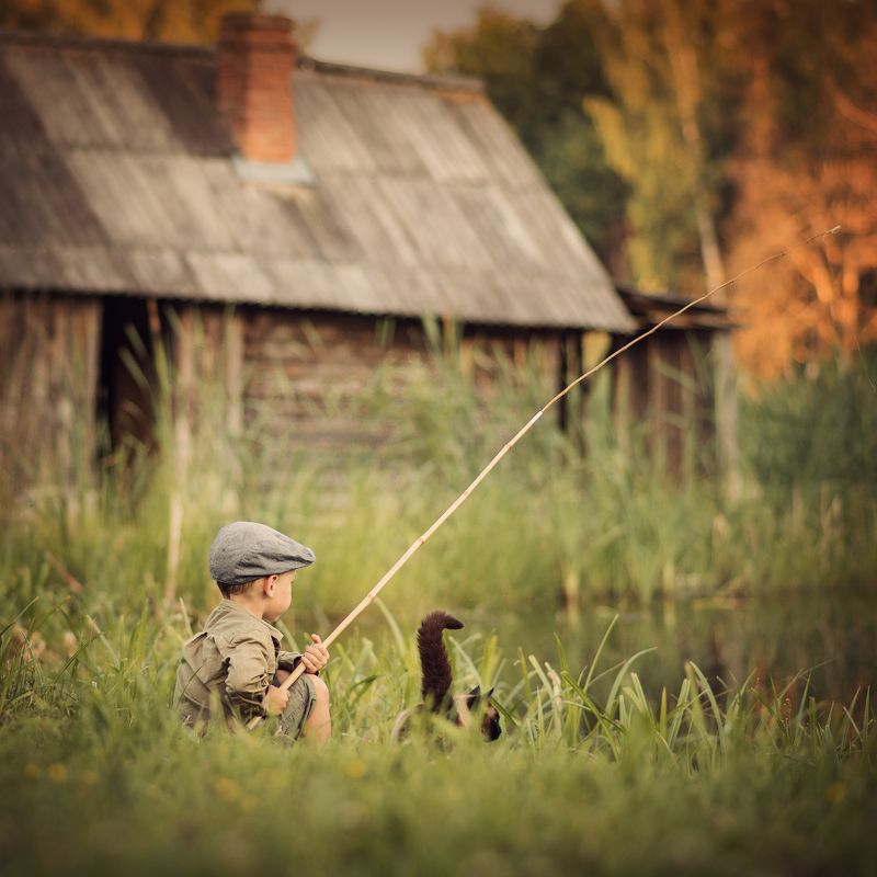 fishing,willage,life,boy,cat,vintage На рыбалке )photo preview