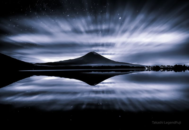 Fuji,mountain,Japan,lake,reflection,cloud,star,night,calm,beautiful,landscapes, Blue night (Blue ink version)photo preview