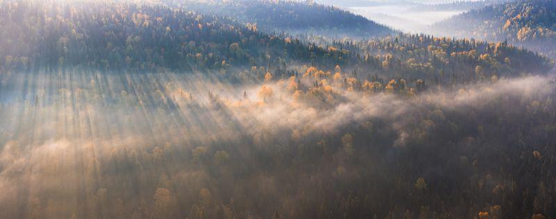 Золотая осень, Осенний пейзаж, Панорама, Пейзаж, Пермский край, Тайга, Туман, Урал, Усьва, Усьвинские столбы Уральская тайгаphoto preview