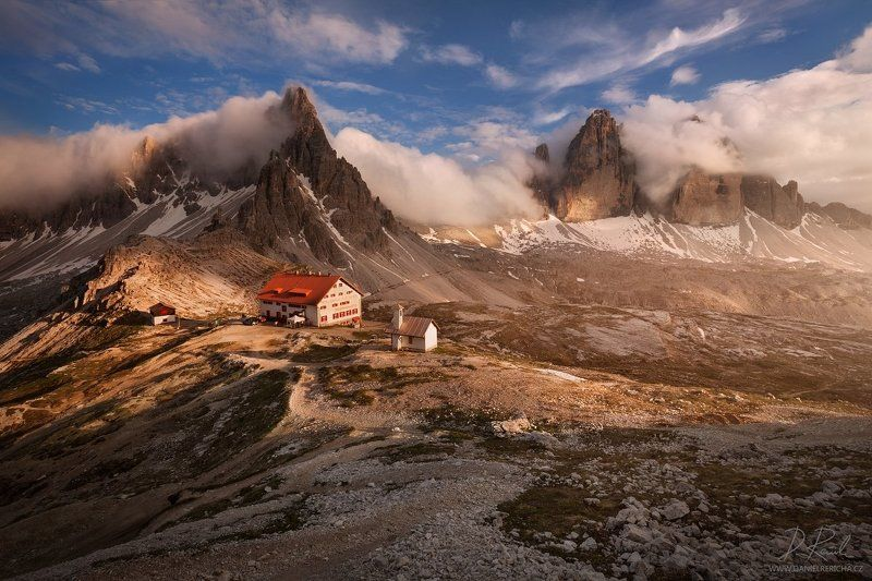 Alpen, Alps, Dolomiten, Dolomites, Dolomiti, Italia, Italien, Italy, South Tyrol, Tyrol, sexten, sesto, Drei zinnen, Tre cime, Lavaredo, Tre Cime di Lavaredo,  Trentino, europe, travel, summer,  summer landscape, daniel rericha, evening colors, evening, e Evening by the Tre Cimephoto preview