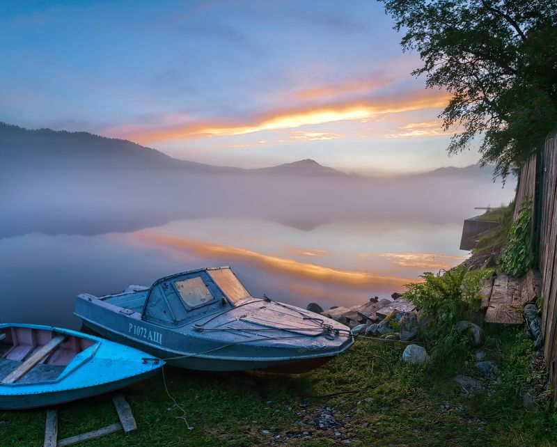утро, туман, рассвет, озеро, алтай, телецкое Утро на Телецком озереphoto preview