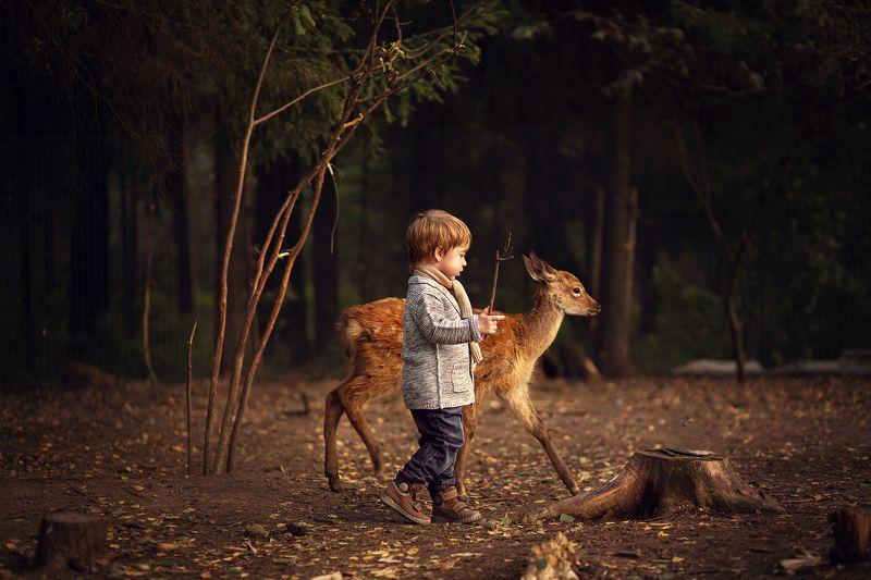 Ребенок и олененок)photo preview