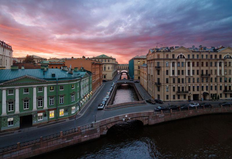 Санкт-Петербург, закат, небо, мост, город, пейзаж, Urban Exploration Зимняя канавкаphoto preview