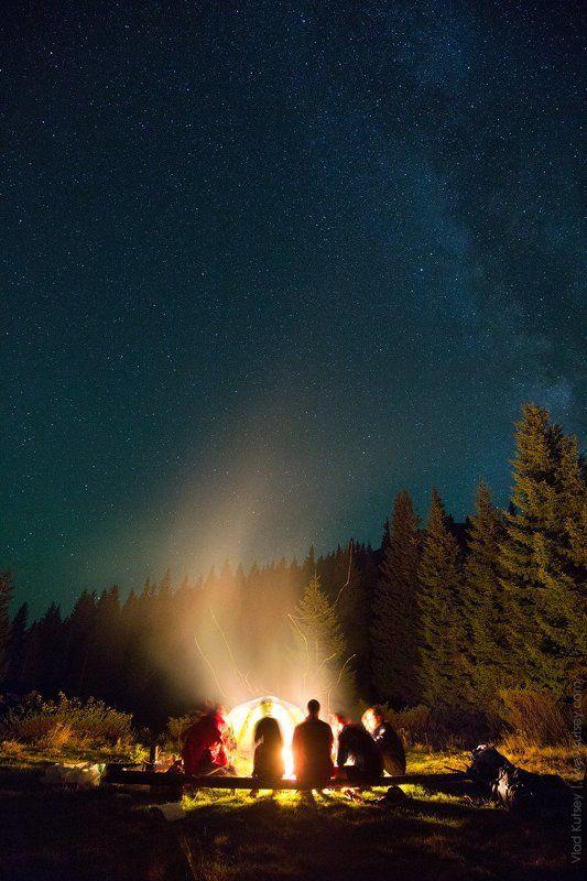 ночь, звезды, лагерь, палатка, костер, путешествие, карпаты, горы, гора, шпицы Ночь под Шпицамиphoto preview