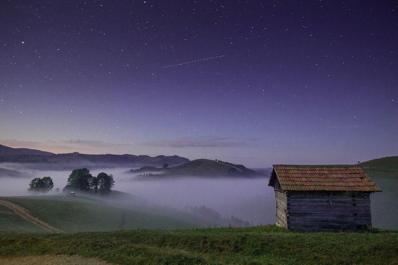 night,stars,mist,colors,fog,nature,house Magic nightphoto preview
