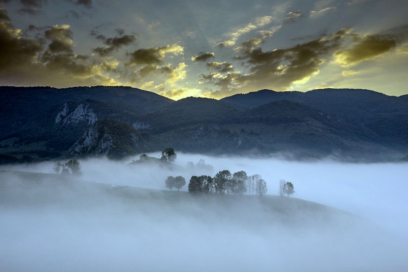 sunset,colors,mist,trees,fog,hills Sunsetphoto preview