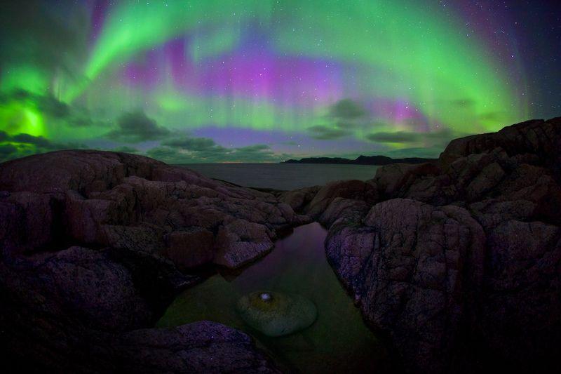 полярное сияние териберка баренцево море ледовитый океан прибой камни пляж Краски северных морейphoto preview