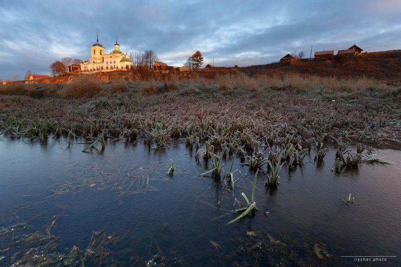 рассвет, урал, первый лед, пейзаж, природа, церковь, россия первый ледphoto preview