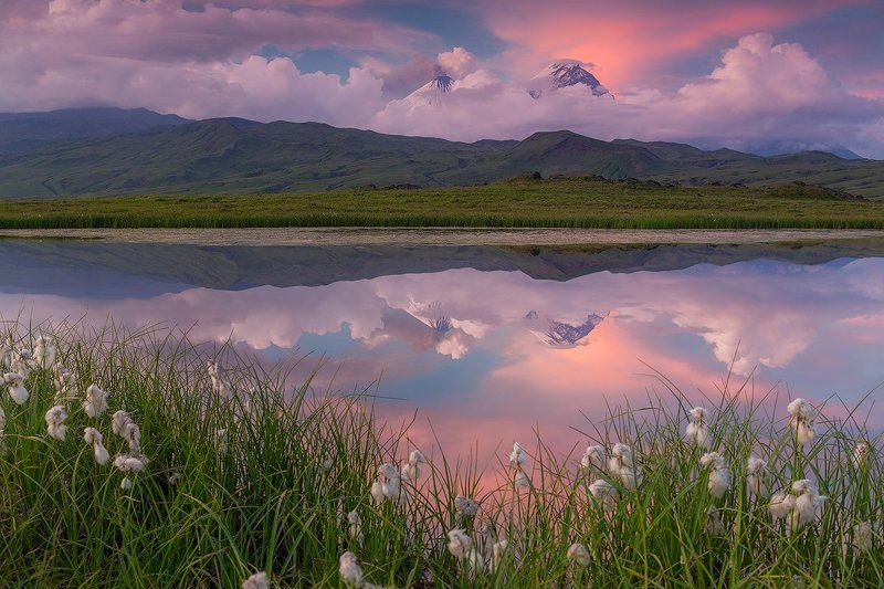 камчатка, вулкан, извержение, закат, пепел, снег, пейзаж, природа, озеро, облака, Лето в Долине великановphoto preview