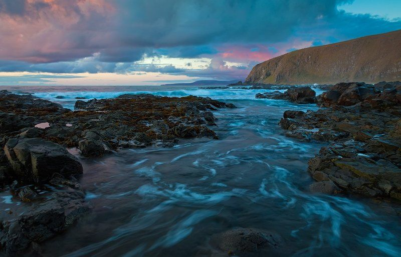 вечер, закат, волны, тихий океан, камни Обычный вечерphoto preview
