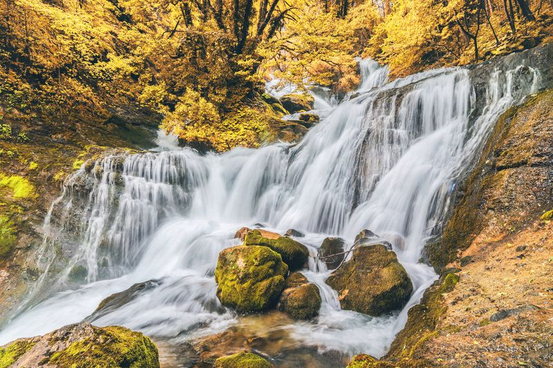 autumn waterfall nature landscape georgia  золотая осень в грузииphoto preview
