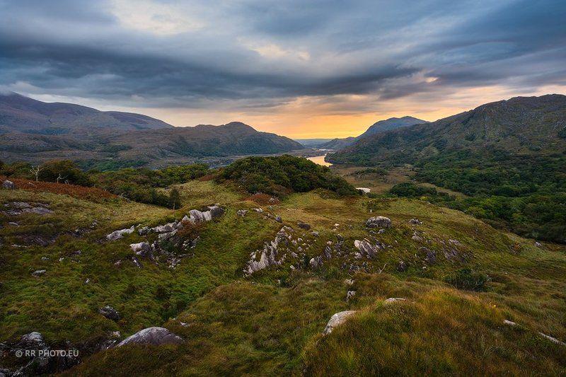 ireland, kerry, killarney, landscape, mountains, sunrise, lake, orange, blue, sky,  Killarney - Irelandphoto preview