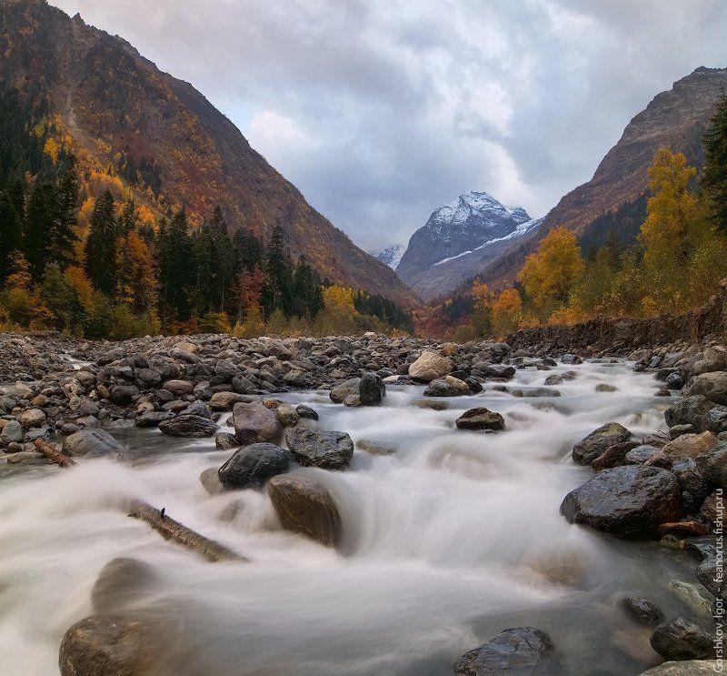 горы,кавказ,домбай,аманауз,река,осень,пейзаж, Осенний вечер на Аманаузеphoto preview