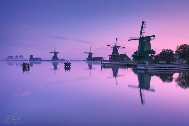 Netherlands, Nederland, Niederlande, Holland, North Holland, Holanda, Amsterdam, Zaanse Schans, Zaandijk, Zaanse, Zaandam, Zaanstad, Schans, Zaan, Zaanse, Europe, windmill, windmühle, windmühlen, windmills, mill, reflection, reflection, blue, blue sky, sk Morning at windmillsphoto preview