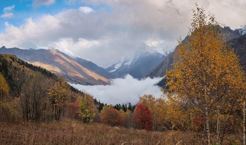 домбай, горы, кавказ,туман, осень, панорама, пейзаж Домбайская чаша осеннего туманаphoto preview