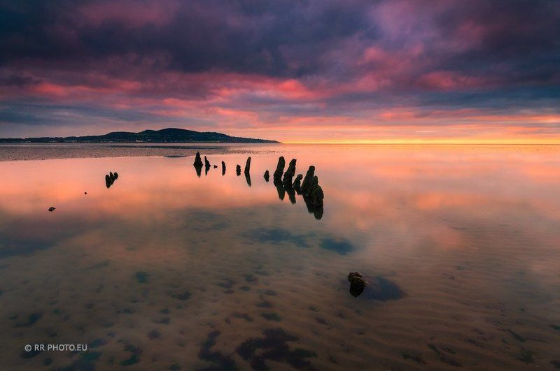 ireland, sunrise, red, shipwreck, landscape, beach, dublin Bull Island shipwreckphoto preview