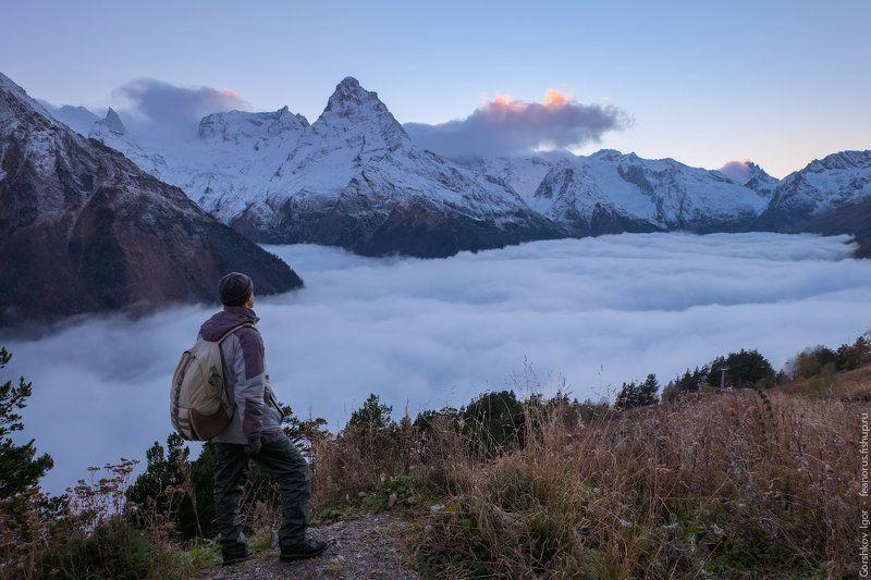 домбай, горы, кавказ,туман, осень, автопортрет,странник,путешественник, пейзаж,вечер,облака,вершины Странник над морем туманаphoto preview